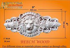 Hand carved Beech Wood Lion Head Applique Rosette
