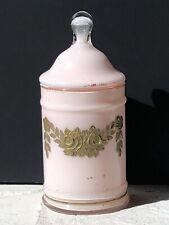 Vintage HANDPAINTED PINK PEACH Shabby Glass GOLD Antique Storage Chic JAR Flower