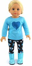 Blue Top w/Heart & Flower Leggings fits 18 inch American Girl Doll Clothes