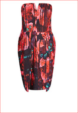 City Chic RED Floral strapless lined bone support PARTY DRESS XS 14 + pockets