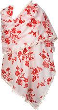 Boho Sommerschal Rot bedruckt Blumen Baumwolle scarf flowers red cotton summer