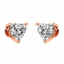 2.00ct Heart VVS1/D Diamond Stud Earrings In 14K Rose Gold Heart Stud Earrings