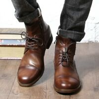 Vintage Men's Oxfords Genuine Cow Leather Cap Toe High Top Ankle Boots lace up