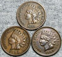 1880 1895 1908 Indian Cents Penny  ---- Nice Lot ---- #L879
