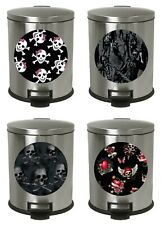1.3 Gallon Oval Stainless Step Trash Can Skull Zombie Wastebasket Bedroom Bath