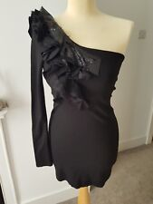 Ladies Black Sparkle One Arm Long Sleeve Jane Norman Dress Size 10