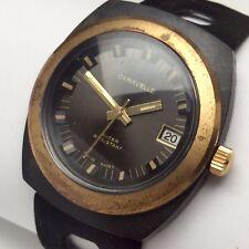 Bulova Caravelle Bahamas Mens Black Swiss Wrist Watch Vintage New Old Stock B603