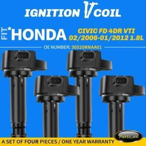 4x Ignition Coils for Honda Civic FD 2006-2012 R18A 4Cyl 1.8L SOHC 30520RNAA01