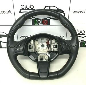 Fiat 500 Black Sport Flat Bottom Steering Wheel with Red Stitching 2008-2015