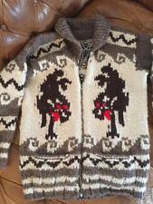 Vintage Cowichan Indian HandKnit Wool Zip Cardigan Sweater :Canadian,Unisex,BOHO
