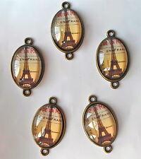 5 X Eiffel Paris Cristal Oval Cabuchones Conectores Bronce enlaces cuentas 36x21mm