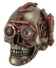 "6.75"" Steampunk Skull w/ Secret Drawer Box Santa Muerte Grim Reaper Holy Death"