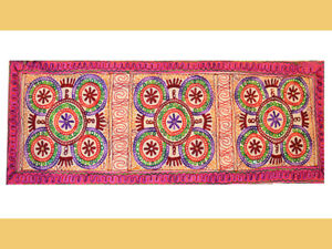 Hand Embroidered Chain Stitched Mandala Cotton Wall Tapestry, Table Runner India
