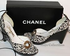 Chanel Black & White Canvas Wedge Sandals Ankle Lace CC Logo Brass Ring With Box