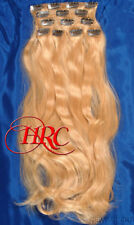 "24"" GOLDEN BLOND EUROPEAN QUALITY HUMAN HAIR EXTENSION 14 CLIP ON IN WEFT REMI"