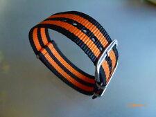 Uhrenarmband Nylon  20 mm schwarz orange NATO BAND Dornschließe Textil