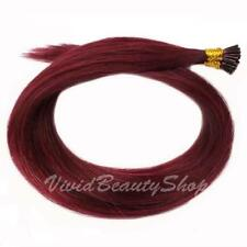 25 Burgundy I Stick Glue Tip Micro Bead Straight Remy Human Hair Extension 22""
