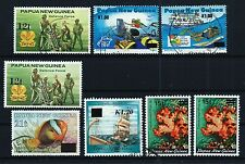 Papua New Guinea selection of 8 surcharge stamps 6x used + 2x MH