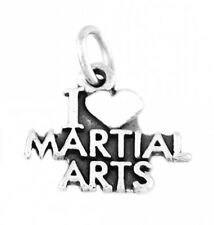 """925 SILVER I LOVE MARTIAL ARTS CHARM WITH 16"""" BOX CHAIN"""