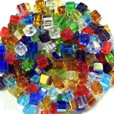 100 pieces 4mm Mixed Bulk Square Cube Crystal Glass Beads 15 colours