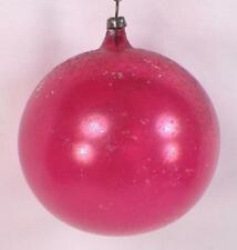 Antique Christmas Ornament Blown Glass Red Ball #390 Paint Wear Large 3in.
