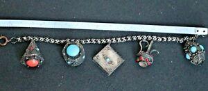 Vintage 800 sterling silver dangle Etruscan revival 5 charm bracelet with gems