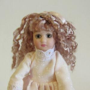 Vtg Dollhouse PORCELAIN GIRL DOLL Posable Artisan Style Child Kid Handmade 1:12