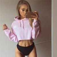 Women Sport Lip Print Crop Top Hoodie Long-Sleeve Anti-UV Casual Sweatshirt Pink