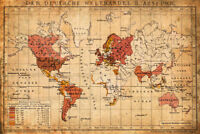 1898 German World Trade Export Antique Style Map Poster 12x18 inch