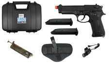 Airsoft SRC M9 Semi Auto Gas Blowback Pistol w/ Case 2 Mags Holster Loader Laser