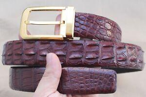 Luxury Genuine Alligator Crocodile Leather SKIN MEN'S Belt Brown