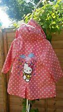 Hello kitty raincoat spotty pink blue hood hooded waterproof spots jacket cute