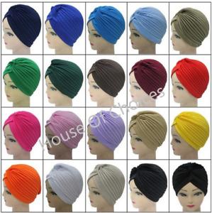Plain Stretchy Ladies Satin Turban Indian Trendy Pleated Headband Chemo Headwrap