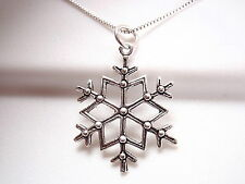 Snowflake Pendant 925 Sterling Silver Corona Sun Jewelry Winter Sports Snow Cold