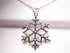 Snowflake Necklace 925 Sterling Silver Corona Sun Jewelry Winter Sports Snow