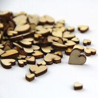 Hot Sell 50 PCS Artcuts Mini Mixed Wooden Hearts Embellishments for Craft New.