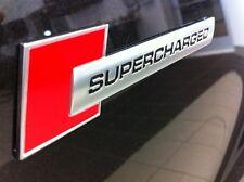Audi Holden HSV BMW SUPERCHARGED Polished Aluminum Emblem badge sticker red/bk