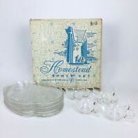 Vintage Mid Century Federal Glass Homestead Snack Set 4 Cups Plates In Box Clear