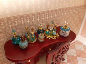 TURQUOISE & GOLD PERFUME Bottles DRESSER Set VanityTrays Dollhouse miniature ##