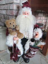 """24"""" Santa Doll Figurine High Quality w/ Knit Mittens Sock w/ Toys Teddy Bear"""