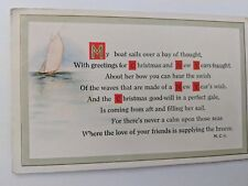 POSTCARD Christmas My Boat sails over a bay of thought, with Greetings O-1
