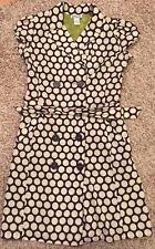 Robbie Bee Women's Over Coat Dress Size 6 Polka Dots Belt Button-down