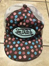 Vintage Von Dutch Brown, Pink & Blue Trucker Hat Adjustable