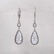 925 Sterling Silver Teardrop Cubic Zirconia Drop Dangle Earrings Bridal Formal