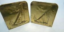 Vintage 1960s Book Ends Tin Decorative Metal Bookends Hand Made Ship Gold Boat
