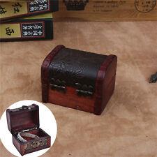 Wooden Vintage Treasure Chest Wood Jewellery Storage Box Case Organiser Ring FU