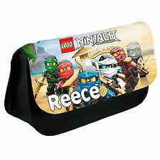 Personalised Lego Ninjago Kids School Black Pencil Case/Make Up Bag