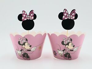 24PK MINNIE MOUSE BOW CUPCAKE TOPPERS & WRAPPERS PARTY SUPPLIES DISNEY BIRTHDAY