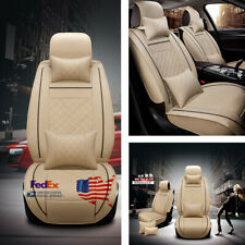 Deluxe Beige PU Leather + w/ pillows 5-Seat Car Front Seat Cover Protectors