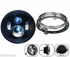 """7"""" Motorcycle Daymaker LED Headlight Lamp + Extension Trim Ring For Harley"""